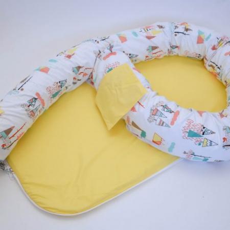 Baby nest 0-8 luni 3 in 1: culcuș, protecție pătuț și saltea. Galben și munți1