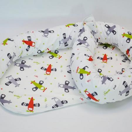 Baby nest 0-8 luni 3 in 1: culcuș, protecție pătuț și saltea, model cu avioane verzi [1]