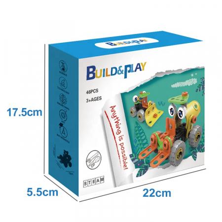 Set de constructie 2 in 1 buldozer si stivuitor, 46 piese3