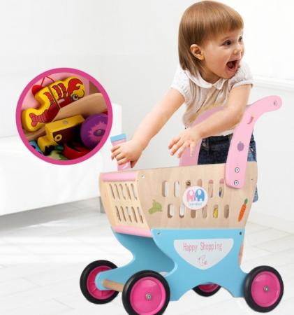 Carucior de cumparaturi din lemn pentru copii, cu accesorii1