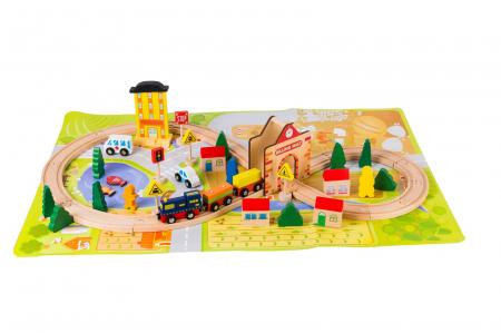 Circuit din lemn tren locomotiva, masini si plansa Oras0