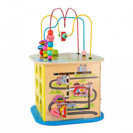 Cub educativ multifunctional din lemn cu labirint masinute si roti zimtate0