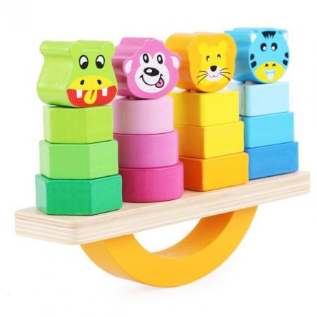 Joc lemn de echilibru, balansoar sortare forme si culori. [0]