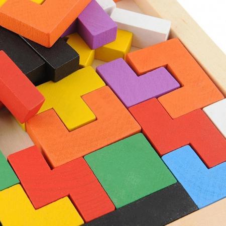 Joc logic Tetris din lemn.2