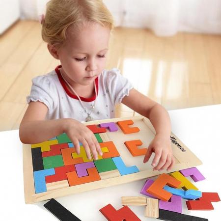 Joc logic Tetris din lemn.1