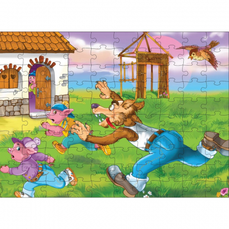 Noriel Puzzle 100 piese - Cei Trei Purcelusi1