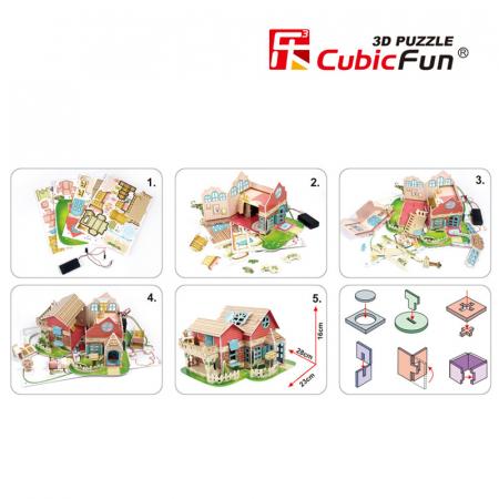 Puzzle 3D CubicFun-Sweet Villa 84 Piese [3]