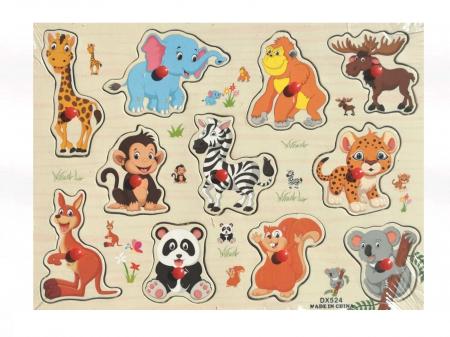 Puzzle din lemn incastru cu maner - animale frumos colorate