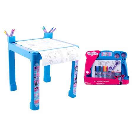 Pachet Vampirina- Masa cu accesorii de colorat + set de colorat portabil0