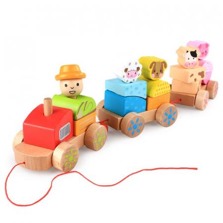 Tren din lemn cuburi geometrice si animale [0]