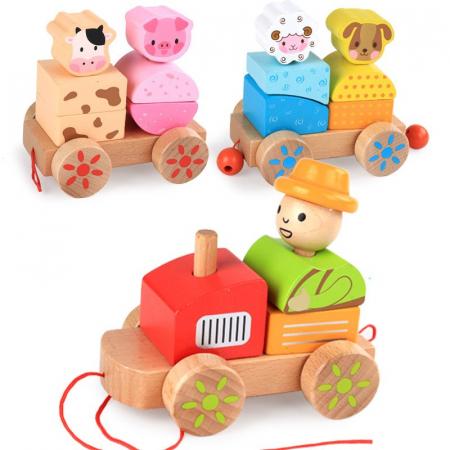 Tren din lemn cuburi geometrice si animale [3]