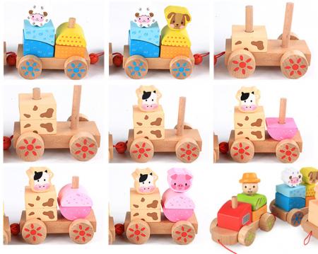 Tren din lemn cuburi geometrice si animale [4]