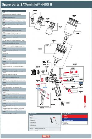 Pistol vopsit Minijet 4400 HVLP, pahar plastic 125 ml, QCC2