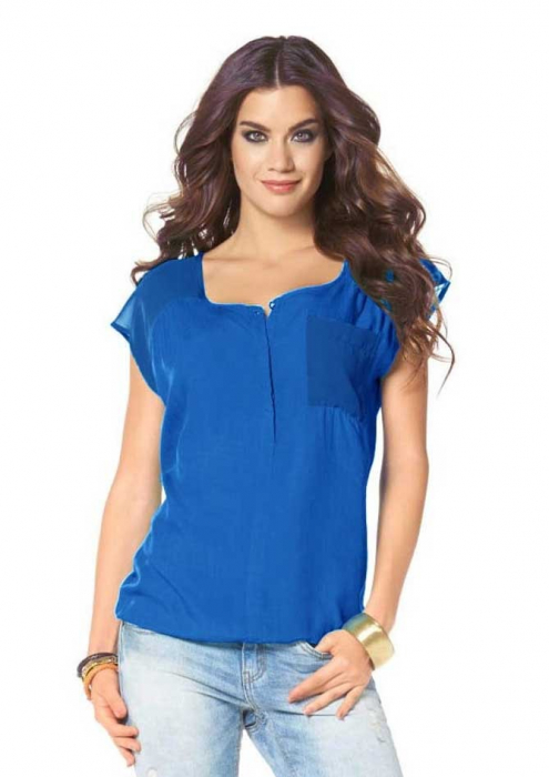 Bluza albastra chiffon LS 2