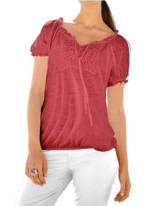 Bluza rosie cu broderie 2