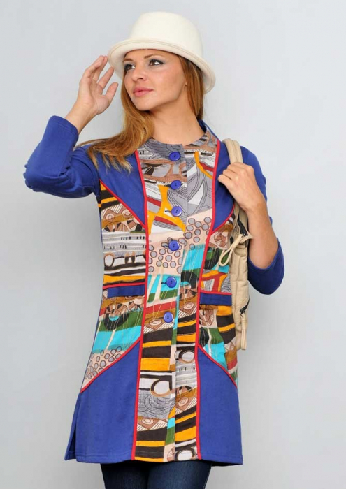 Jacheta lunga albastra dama 0