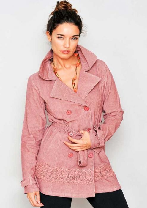 Jacheta lunga roz cu guler 0