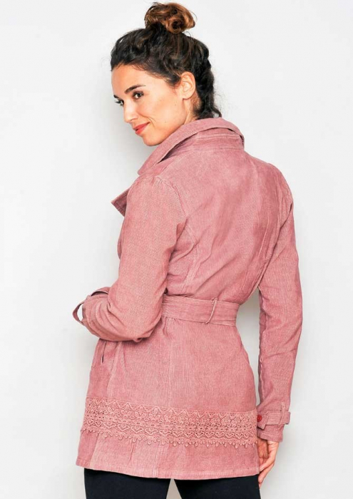 Jacheta lunga roz cu guler 1