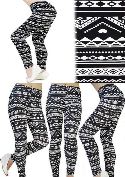 Leggings cu model alb-negru 1