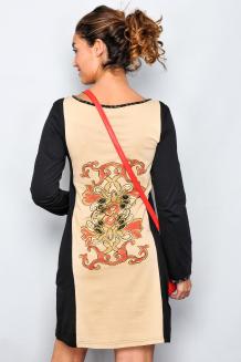 Rochie cu maneca lunga maro-gri 1