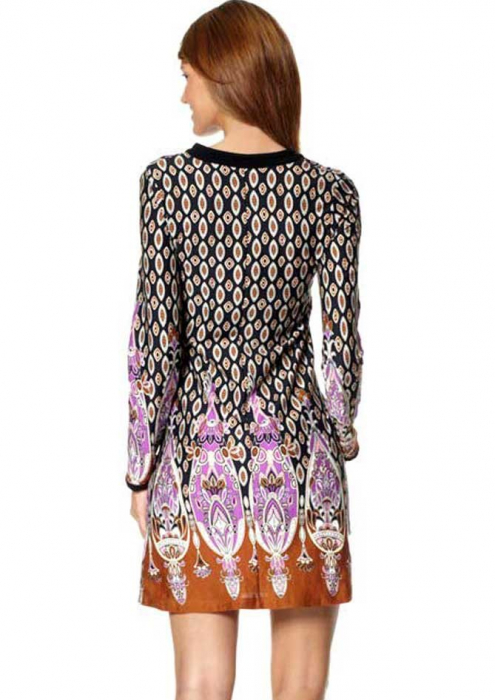 Rochie multicolora cu maneci 1
