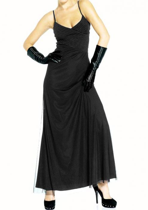 Rochie neagra de seara cu dantela [0]