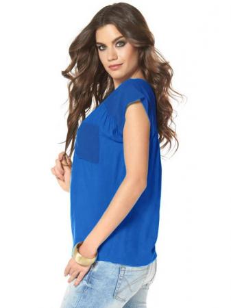 Bluza albastra chiffon LS0