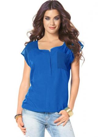 Bluza albastra chiffon LS1