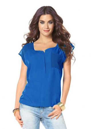 Bluza albastra chiffon LS2