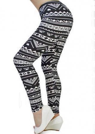 Leggings cu model alb-negru0