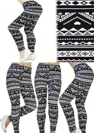 Leggings cu model alb-negru1