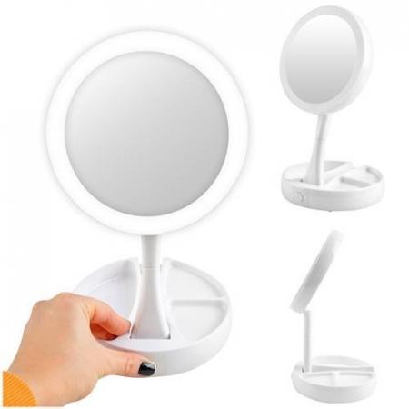 Oglinda cosmetica cu 2 fete, iluminata LED, zoom 10X, brat pliabil [0]