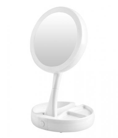 Oglinda cosmetica cu 2 fete, iluminata LED, zoom 10X, brat pliabil [1]