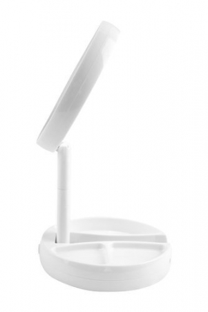 Oglinda cosmetica cu 2 fete, iluminata LED, zoom 10X, brat pliabil [3]