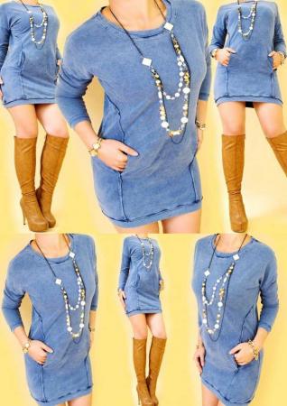 Rochie albastra scurta bumbac [1]