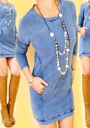 Rochie albastra scurta bumbac [0]