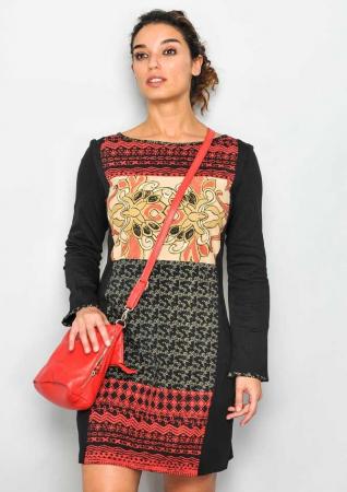Rochie cu maneca lunga maro-gri0