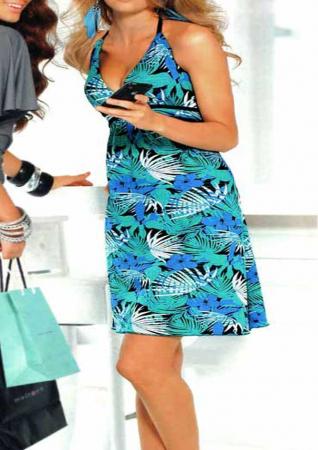 Rochie mini albastra cu bretele1