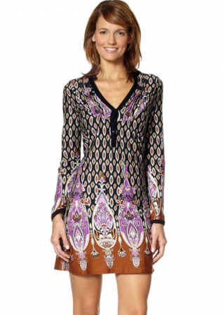 Rochie multicolora cu maneci0