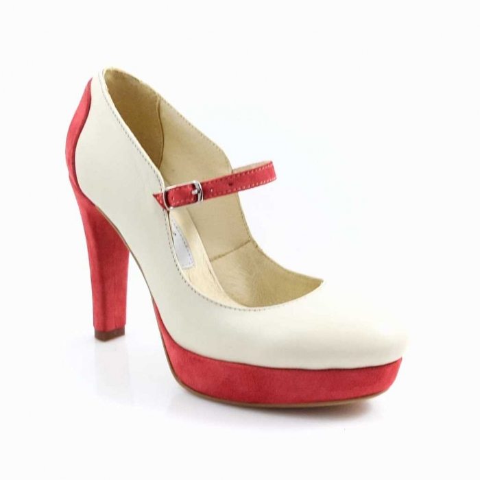 Pantofi din piele naturala Ivoire si Corai Alegria 1