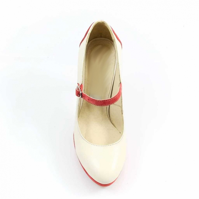 Pantofi din piele naturala Ivoire si Corai Alegria 3