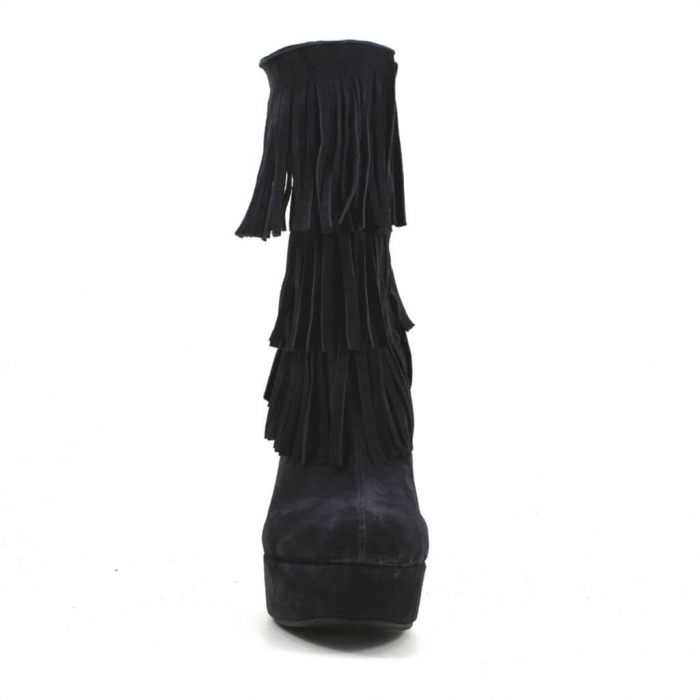 Ghete elegante cu franjuri piele intoarsa neagra G 224 3