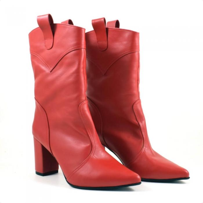 Ghete elegante, piele naturala rosie G219 0