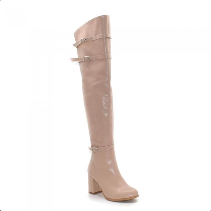 Cizme peste genunchi din piele naturala Nude RZ 01 2