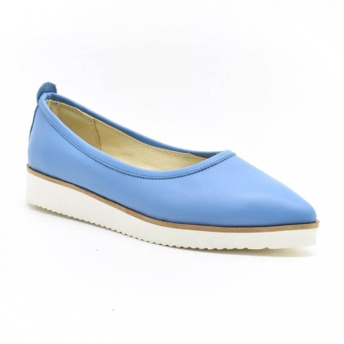 Balerini din piele naturala bleu Maliana 2