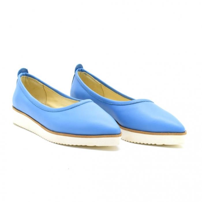 Balerini din piele naturala bleu Maliana 0