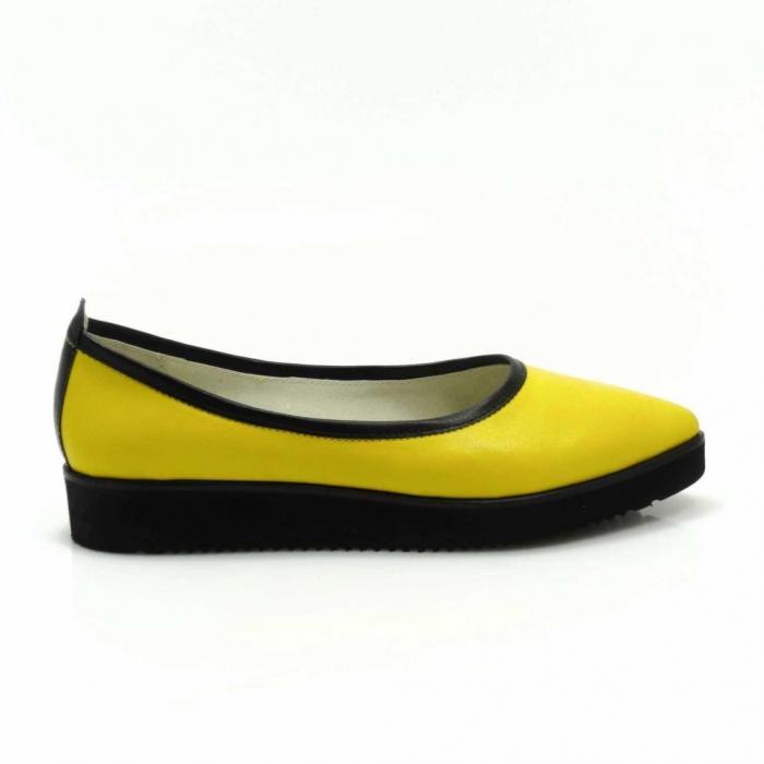 Balerini din piele naturala galben cu negru Maliana 3 0
