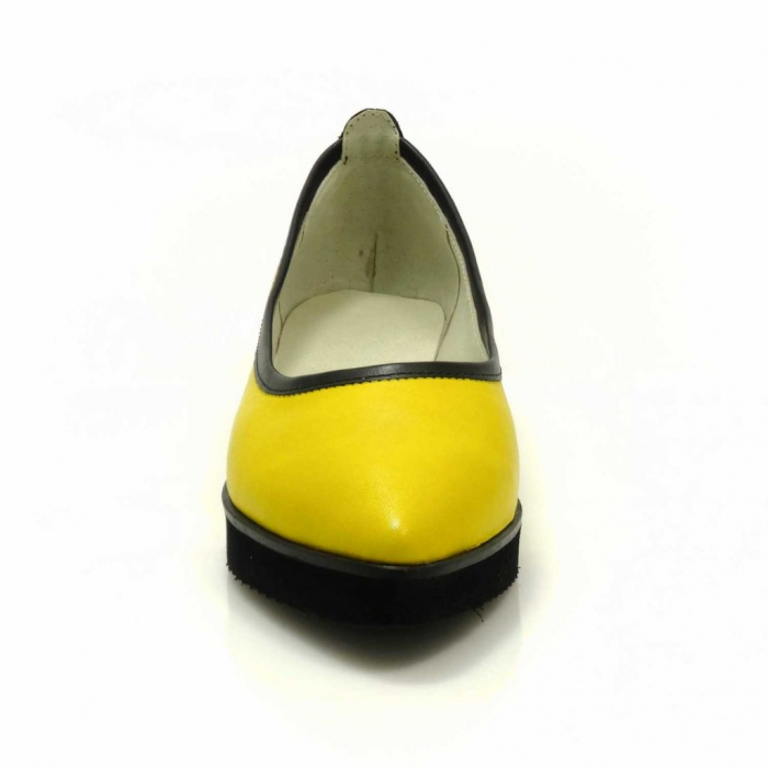 Balerini din piele naturala galben cu negru Maliana 3 2