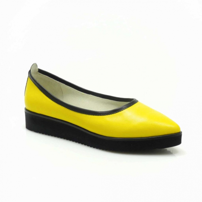 Balerini din piele naturala galben cu negru Maliana 3 1