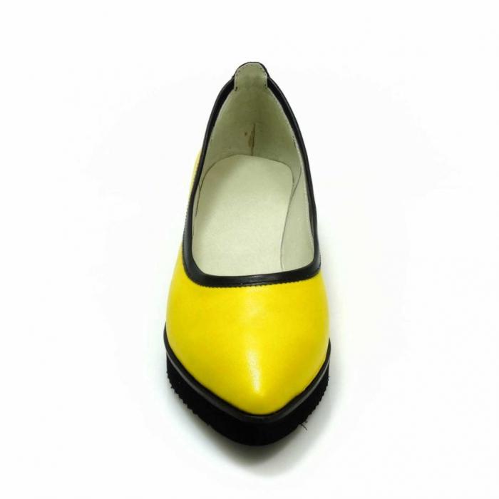 Balerini din piele naturala galben cu negru Maliana 3 3